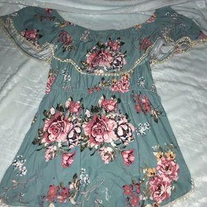 Short sleeved romper dress